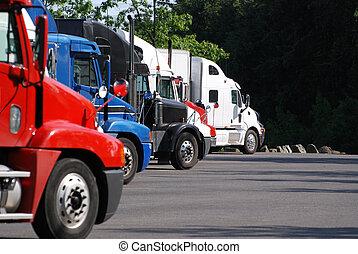 コマーシャル, トラック, 駐車される, 中に, a, row.