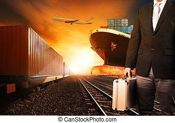 コマーシャル, 使用, 容器, の上, 貨物, 産業, 飛行, 背景, 港, 飛行機, ロジスティックである, 列車,...