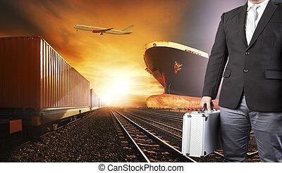 コマーシャル, 使用, 容器, ロジスティックである, ビジネス, 貨物, 産業, 飛行, 背景, 港, 飛行機, の上, 列車, 交通機関, 貨物, 投資家, 船, 人