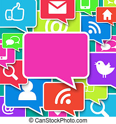 コミュニケーション, アイコン, 上に, 青い背景