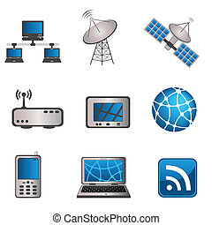 コミュニケーション, コンピュータ, セット, アイコン