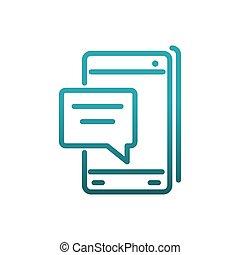 コミュニケーション, スピーチ, 線, メッセージ, sms, 泡, smartphone, 勾配
