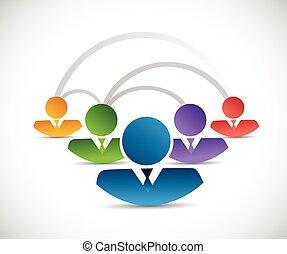 コミュニケーション, デザイン, ネットワーク, イラスト, 人々