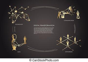 コミュニケーション, ネットワーキング, デジタルの技術, 概念, 変形, データ