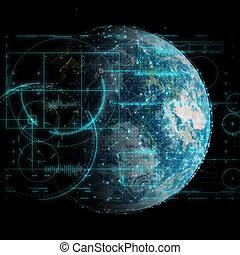 コミュニケーション, ネットワーク, 3d, 技術, 世界的である, 背景