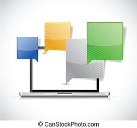 コミュニケーション, ラップトップ, 概念, デザイン, イラスト