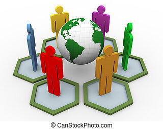 コミュニケーション, 世界的である, 3d, 人々