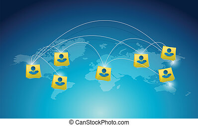 コミュニケーション, 人々, ネットワーク, 世界地図