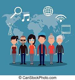 コミュニケーション, 人々, ネットワーク, 世界