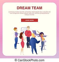 コミュニケーション, 人々, 旗, ビジネス, チームワーク