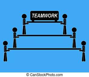 コミュニケーション, 仕事, 考え, イラスト, ベクトル, 一緒に, チーム