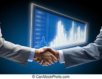 コミュニケーション, 図, ビジネス, 背景, 概念, 雇用, 友人, 味方, 企業である, 合意, 友情, ビジネスマン, チャンス, 取引, 黒, 商業, 始まり, ディスプレイ, 暗い, 金融