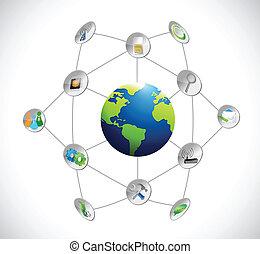 コミュニケーション, 地球, 概念, ネットワーク, イラスト