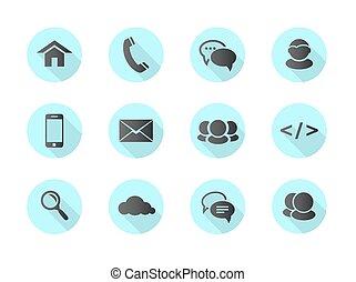 コミュニケーション, 平ら, デザイン, 網, アイコン