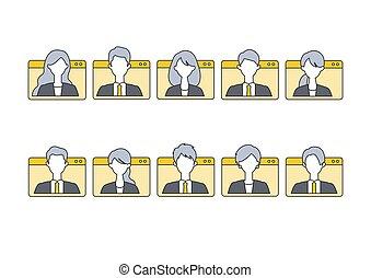 コミュニケーション, 持つこと, を経て, 人々, テレコミューティング, 窓, frames., system., イラスト, ベクトル, 事実上