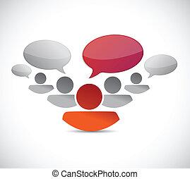 コミュニケーション, 概念, チームワーク, イラスト