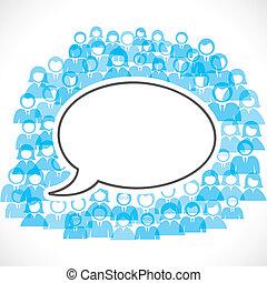 コミュニケーション, 概念, 白黒, 人々