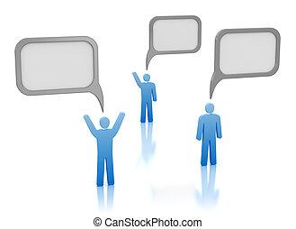 コミュニケーション, 泡, -, 人々