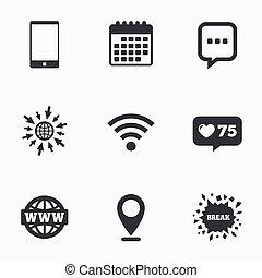 コミュニケーション, smartphone, チャット, icons., bubble.
