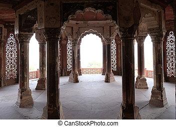 コラム, 城砦, agra, インド, 中, 宮殿, uttar pradesh