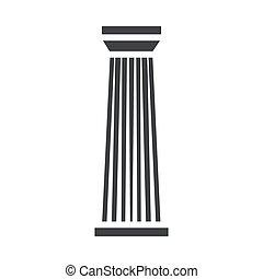 コラム, 柱, 黒, アイコン