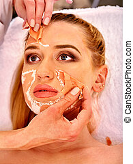 コラーゲン, 顔, mask., 美顔術, 皮膚, treatment., 女, 受け取ること, 化粧品, procedure.