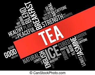 コラージュ, お茶, 単語, 雲