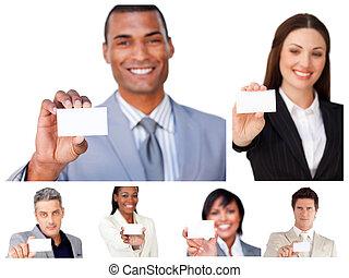 コラージュ, の, ビジネス 人々, 提示, サイン