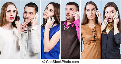コラージュ, の, ビジネス 人々, 話す, 電話