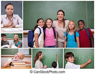 コラージュ, の, 小学校, 生徒, そして, 教師