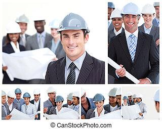 コラージュ, の, 建設, 人々