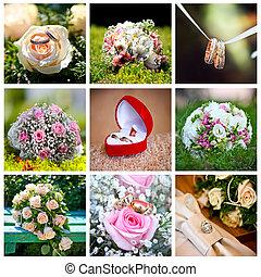 コラージュ, の, 9, 結婚式, 写真