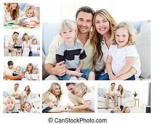 コラージュ, の, a, 家族, 出費, 商品, 瞬間, 一緒に, そして, ポーズを取る, 家で