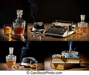コラージュ, の, retro-styled, 古い, タイプライター, 葉巻き, 帽子, そして, ウイスキー,...