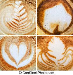コラージュ, エスプレッソ, コーヒー, 泡, 背景