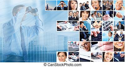 コラージュ, グループ, ビジネス, 人々