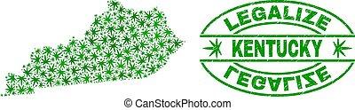 コラージュ, ケンタッキー, 葉, 切手, シール, グランジ, 州の地図, legalize, マリファナ