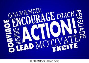 コラージュ, コーチ, 動機を与えなさい, 励ましなさい, 行動, 単語, 促しなさい, リード