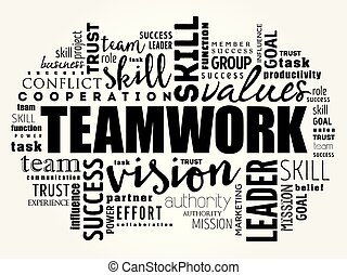 コラージュ, チームワーク, 単語, 雲