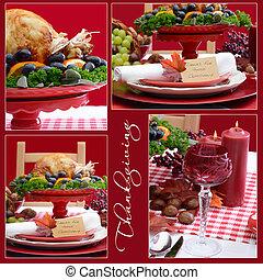 コラージュ, テーブル, 白, 感謝祭, 赤