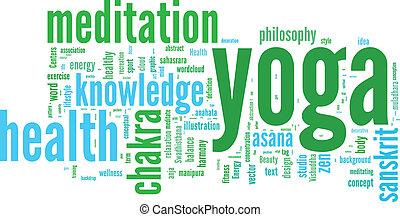 コラージュ, バックグラウンド。, 白, yoga., 単語