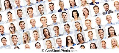 コラージュ, ビジネス 人々, 肖像画, 多数