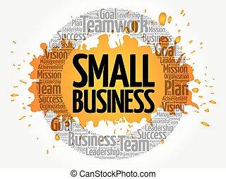 コラージュ, ビジネス, 小さい, 単語, 雲