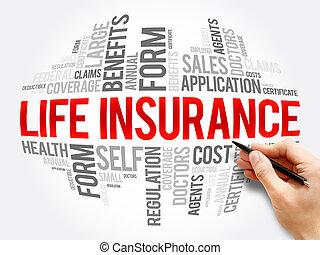 コラージュ, 保険, 単語, 生活, 雲