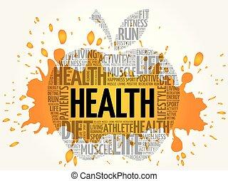 コラージュ, 健康, 単語, アップル, 雲