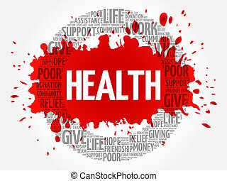 コラージュ, 健康, 単語, 雲