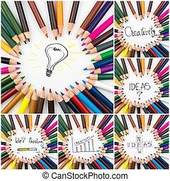 コラージュ, 写真イメージ, 概念, 創造性