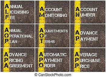 コラージュ, 写真, ビジネス, acronyms