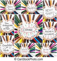 コラージュ, 写真, 概念, ブレーンストーミング, イメージ, 変化しなさい