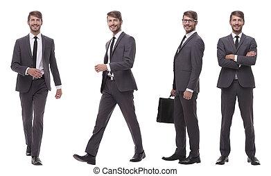 コラージュ, 写真, 現代, 若い, ビジネスマン